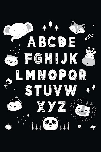 black and white alphabet for kids poster collective