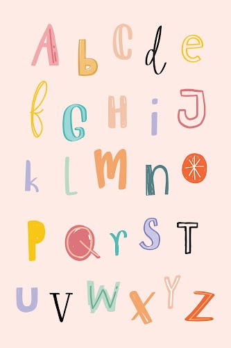 pink alphabet for kids poster collective
