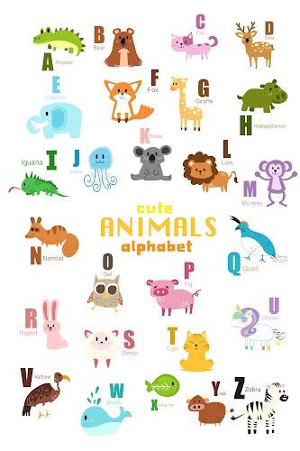 cute animals alphabet poster collective