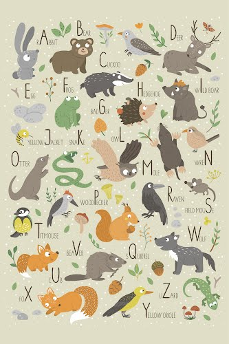 animals alphabet for kids poster collective