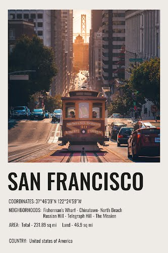 san francisco vintage city poster collective